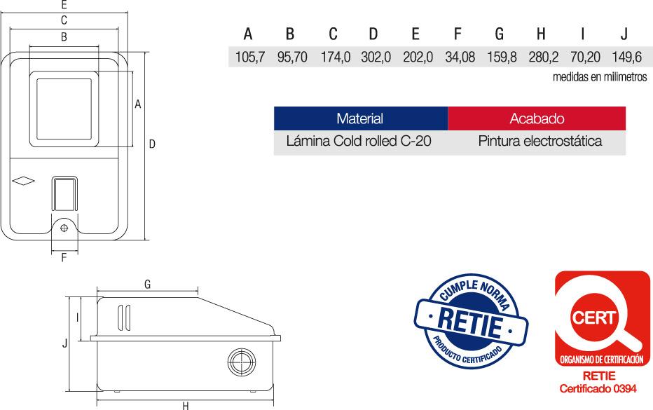 Caja Contador Portabreaker Enchufable Características